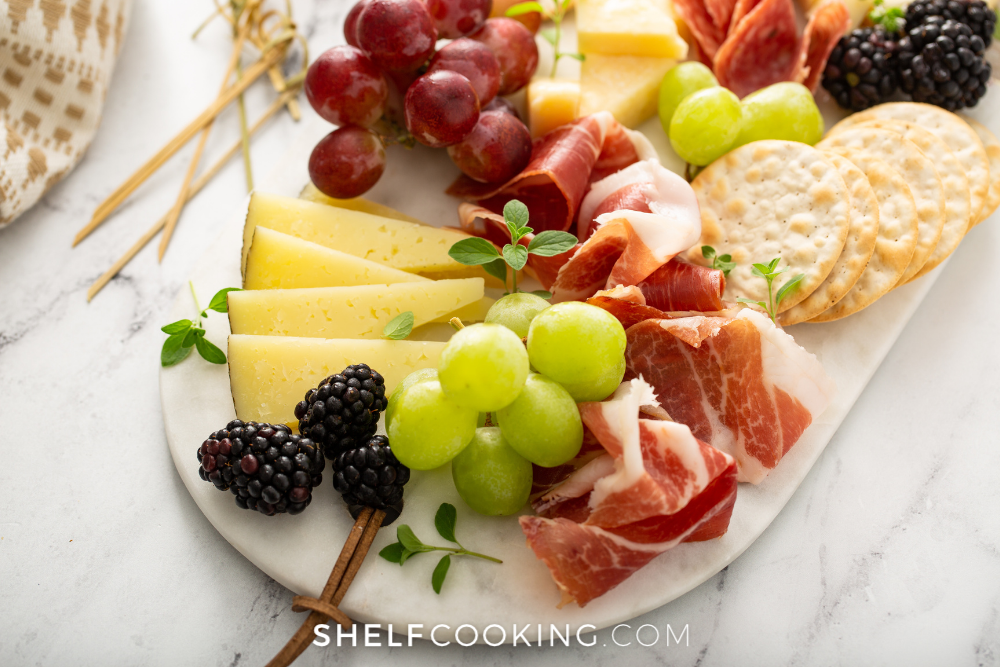 a charcuterie board for New Years Eve from Shelf Cooking