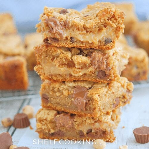 a stack of peanut butter & chocolate bars, from Shelf Cooking