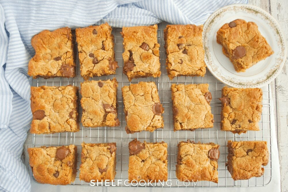 a tray of sliced cookie bars, from Shelf Cooking