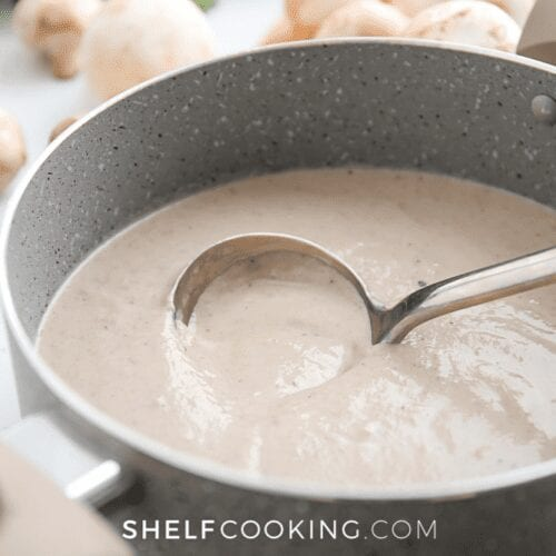 cream of mushroom soup in a pot, from Shelf Cooking