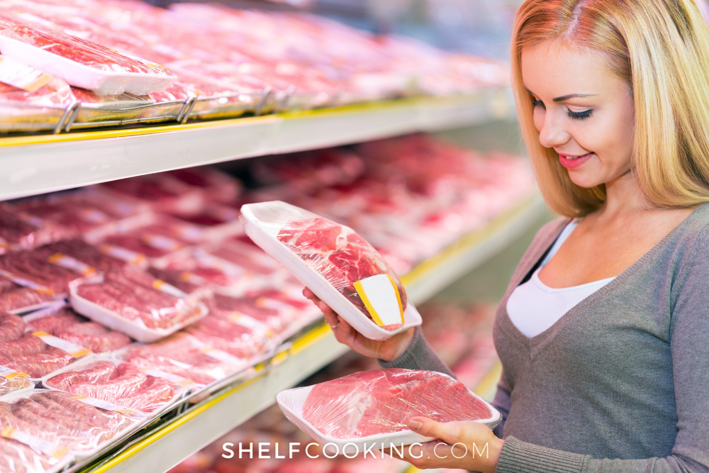 woman shopping for meat, from Shelf Cooking
