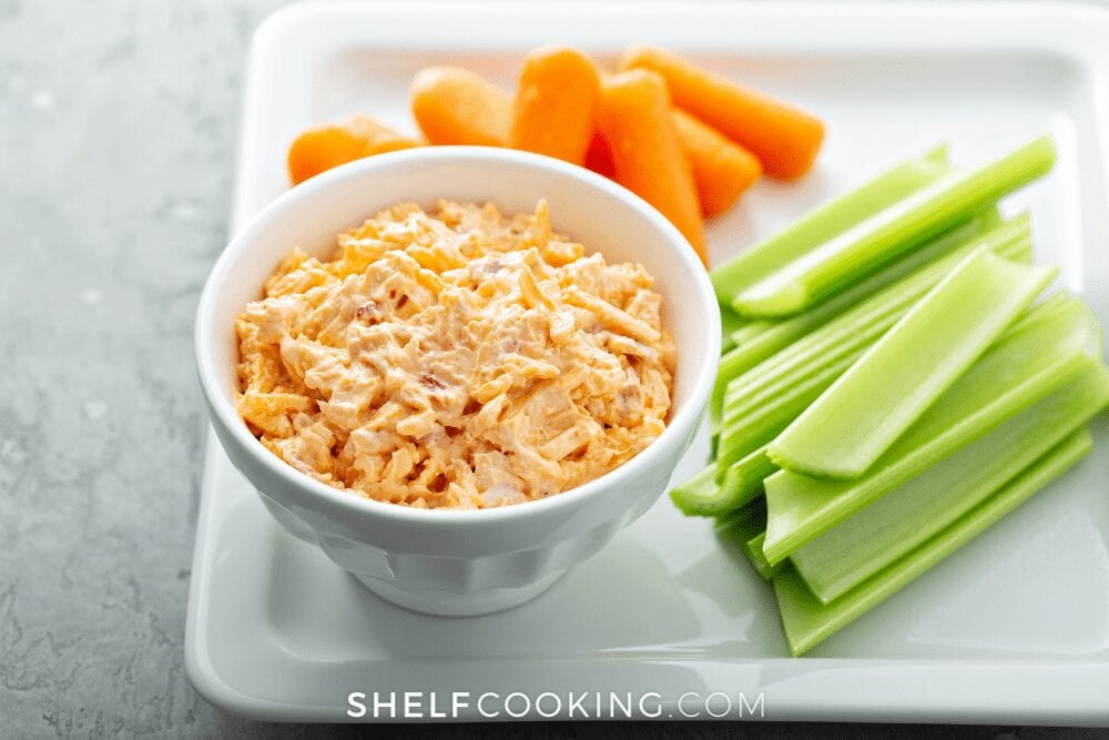 pimento cheese with raw veggie sticks, from Shelf Cooking