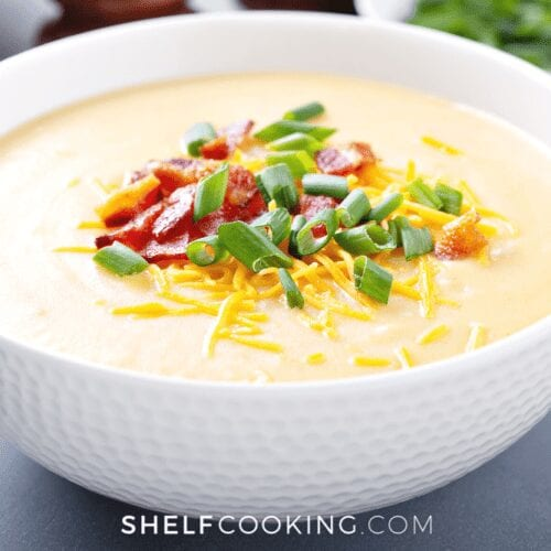 a bowl of loaded baked potato soup, from Shelf Cooking