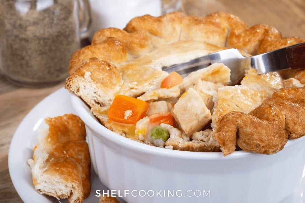 homemade pot pie with potato soup, from Shelf Cooking