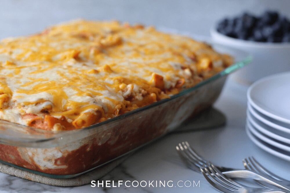 casserole dish filled with baked pasta, from Shelf Cooking