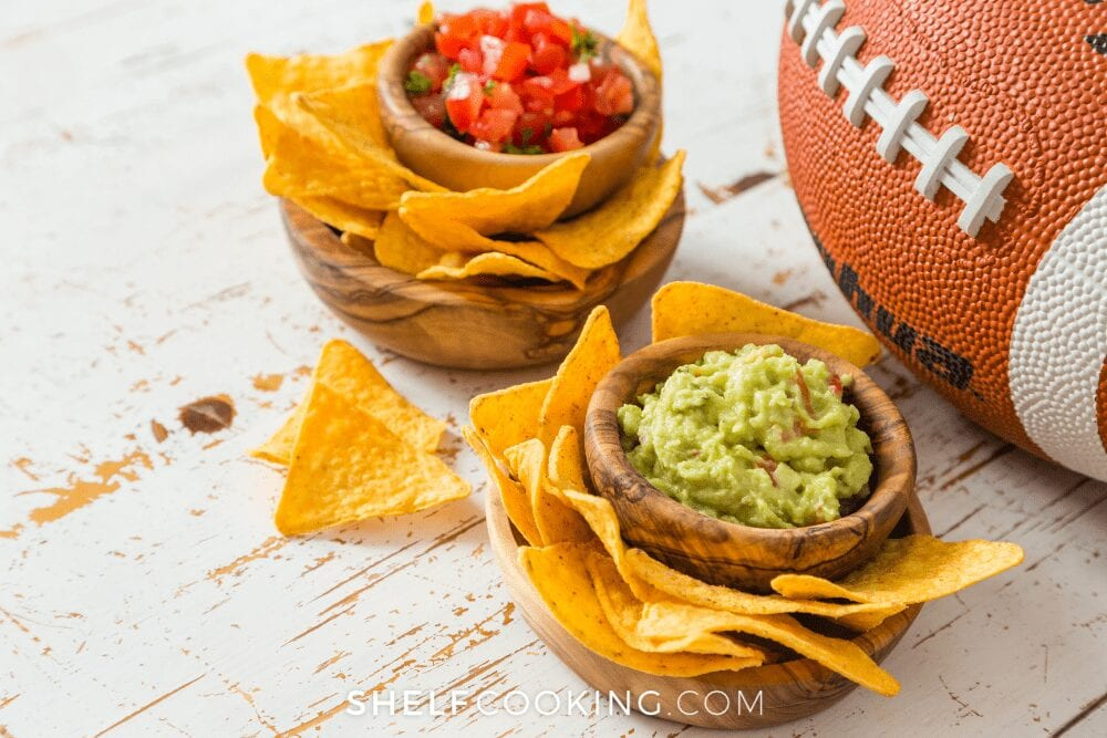 chips with guacamole and salsa, from Shelf Cooking