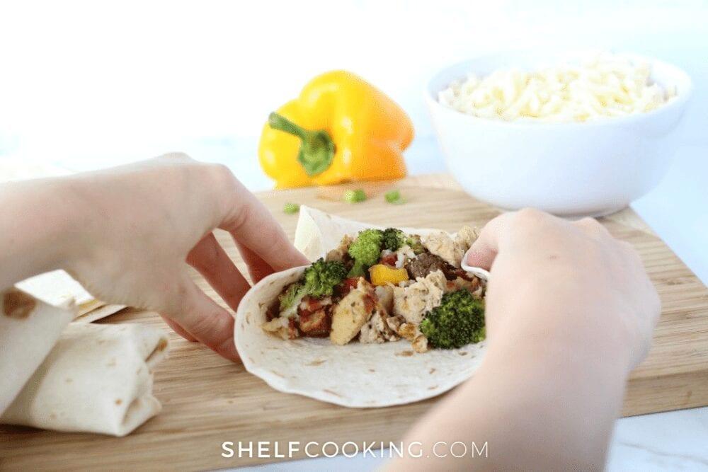making breakfast burritos with veggies, from Shelf Cooking
