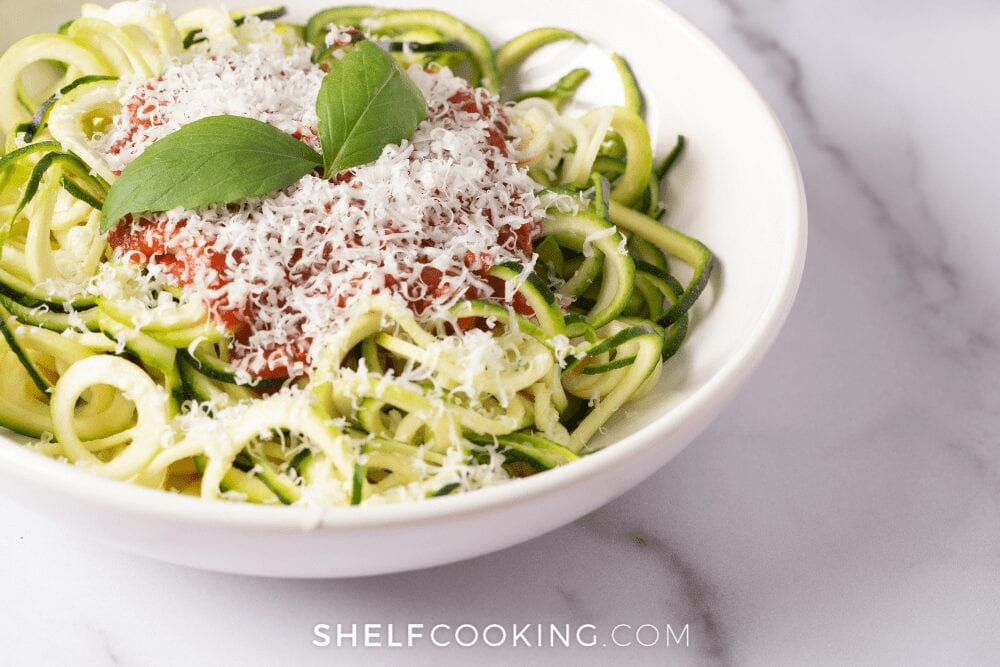 bowl of zucchini noodles with sauce, from Shelf Cooking