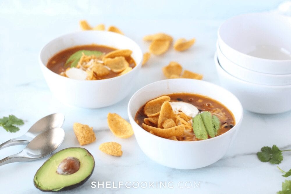 two bowls of taco soup, from Shelf Cooking