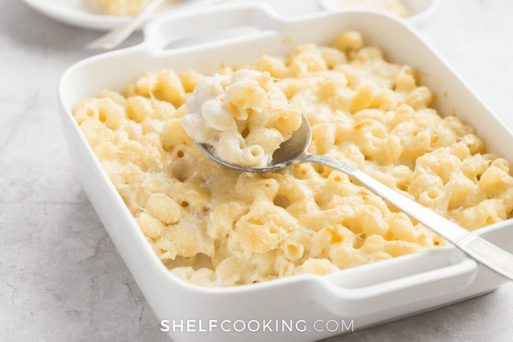 casserole dish of macaroni and cheese, from Shelf Cooking