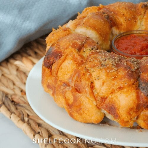 fresh baked pizza monkey bread, from Shelf Cooking