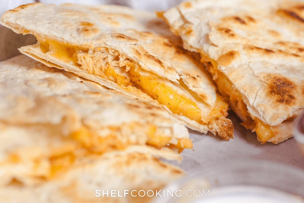 close up of chicken quesadillas, from Shelf Cooking