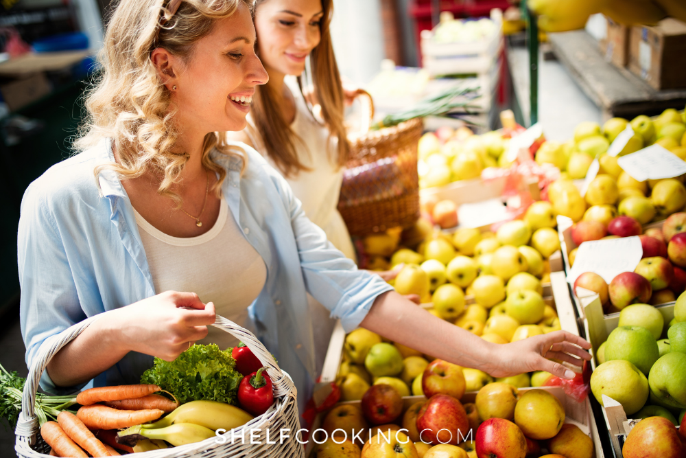 friends shopping for produce at farmer's market, from Shelf Cooking