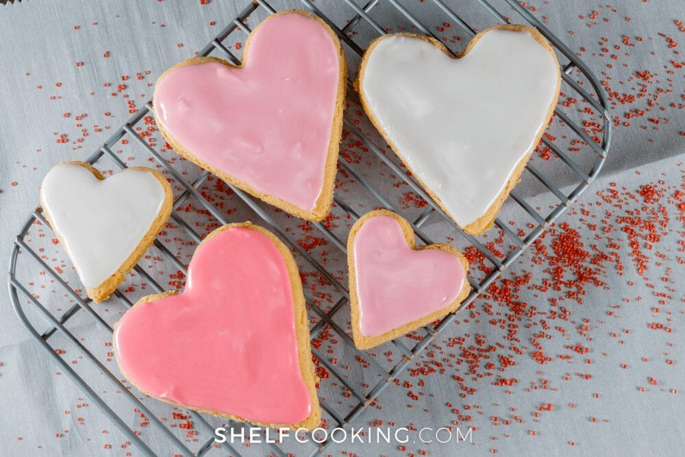 a plate of heart shaped cookies, from Shelf Cooking