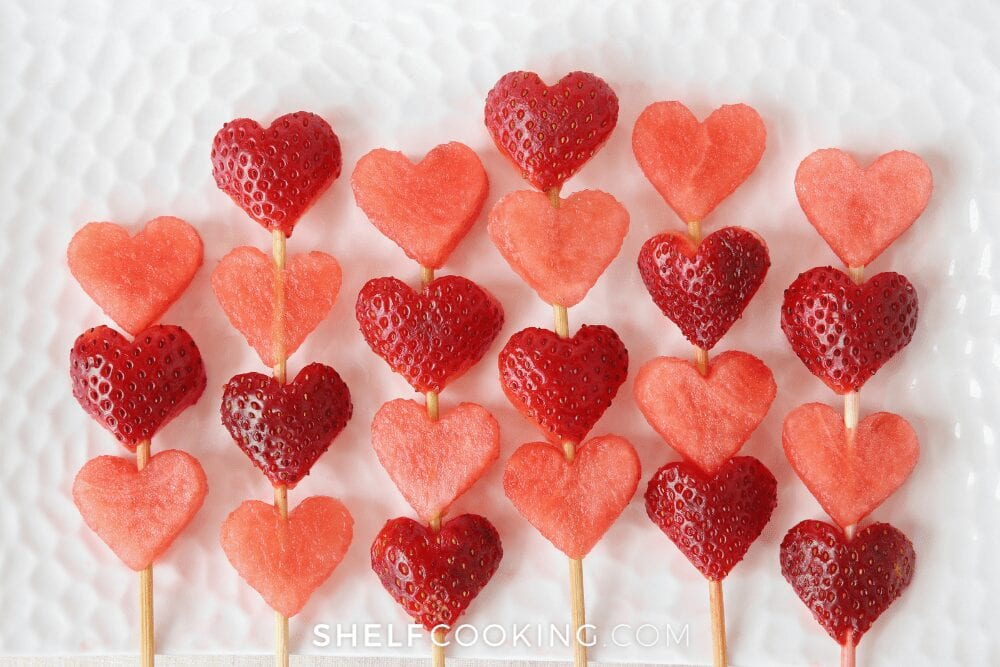heart shaped fruit on skewers, from Shelf Cooking