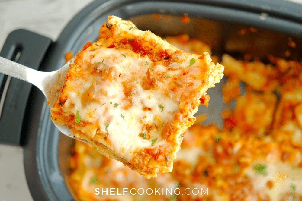 homemade crockpot lasagna, from Shelf Cooking