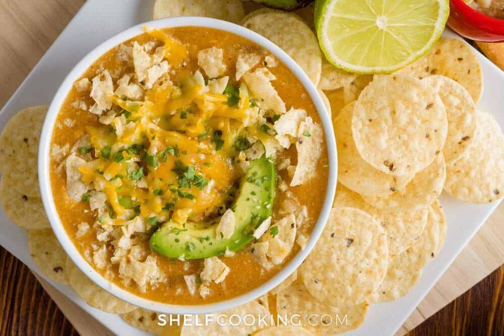 chicken tortilla soup with tortilla chips, from Shelf Cooking