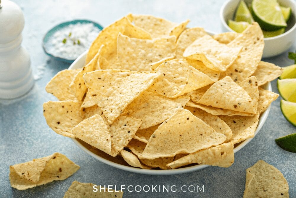 a large bowl of tortilla chips, from Shelf Cooking