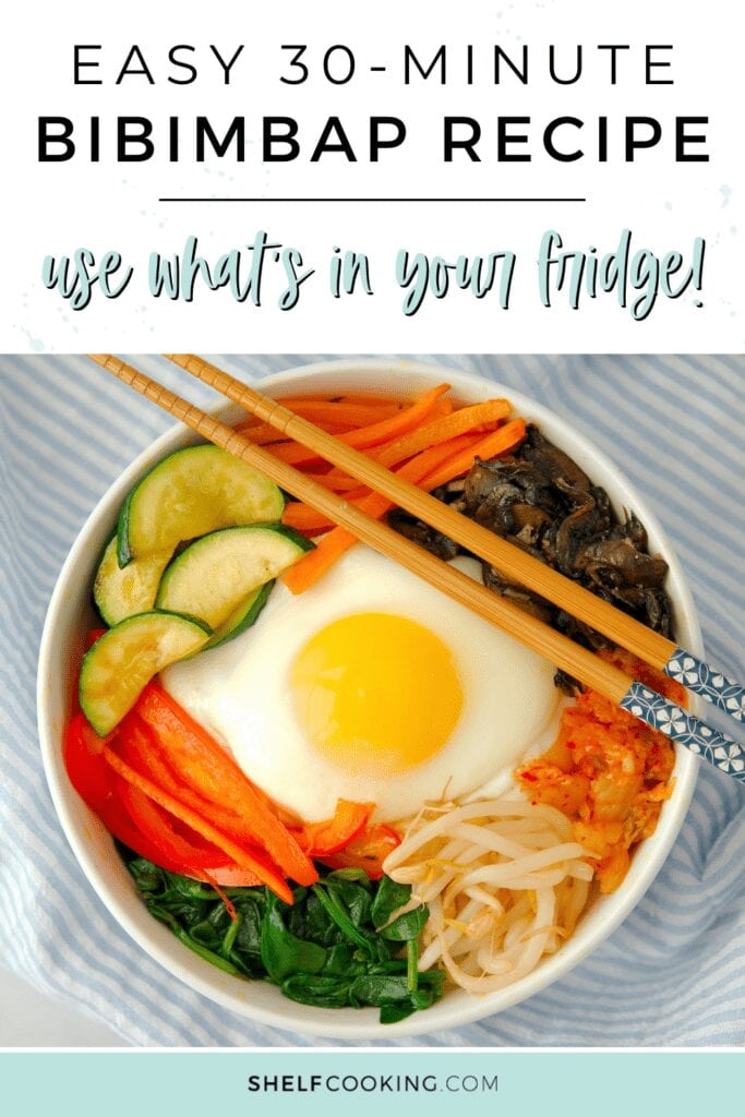 "Image with text that reads ""30-minute bibimbap recipe"" from Shelf Cooking"