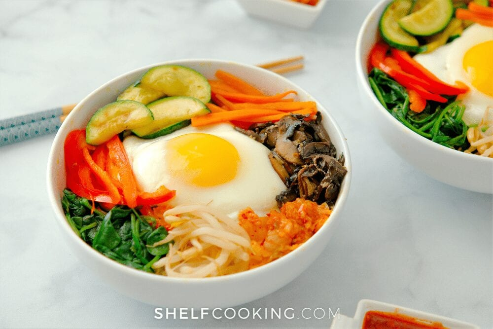 homemade bibimbap in bowls, from Shelf Cooking