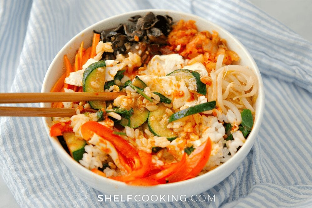 a bowl of homemade bibimbap, from Shelf Cooking