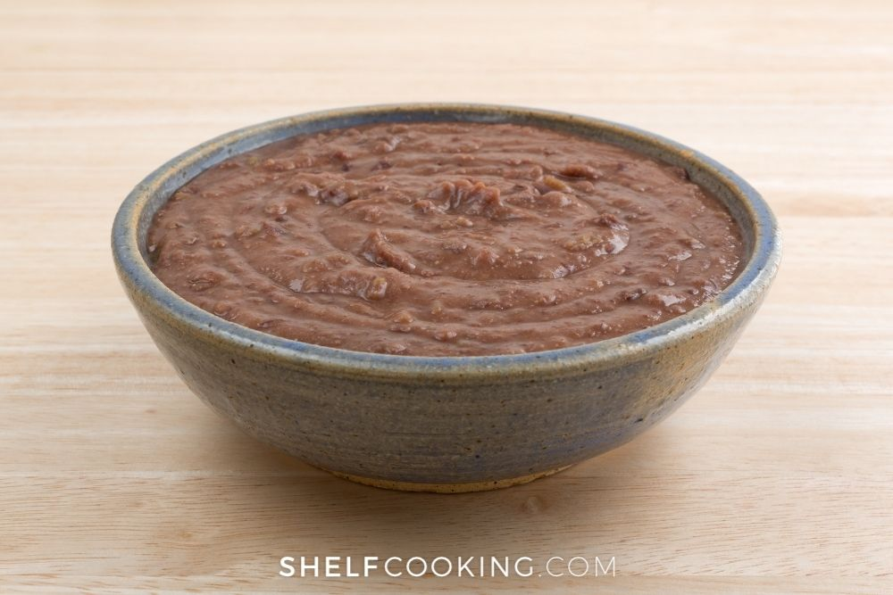a bowl of black bean dip, from Shelf Cooking