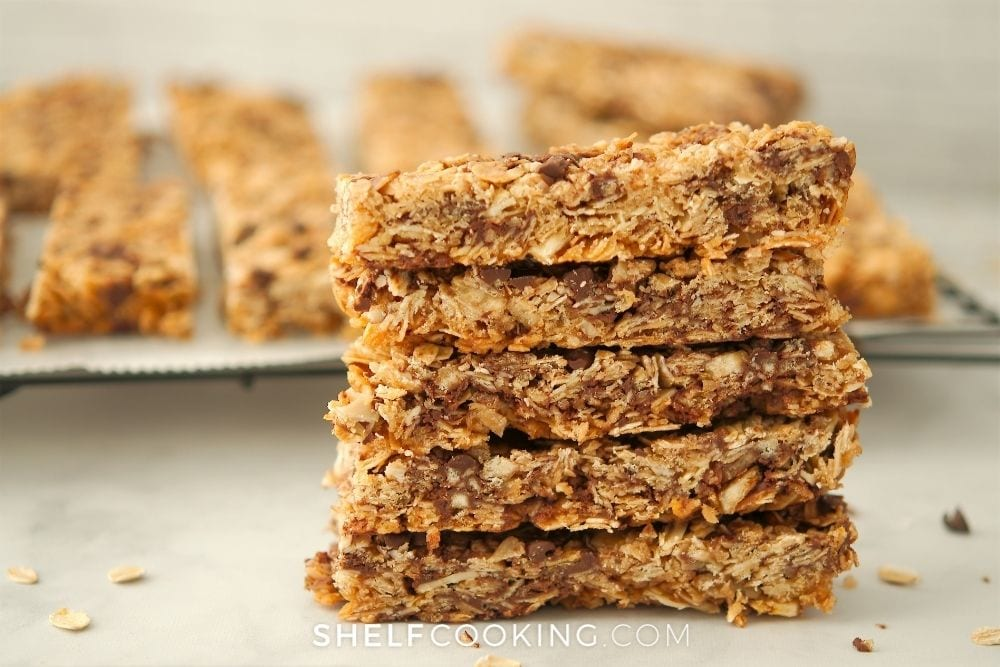 homemade chocolate chip peanut butter granola bars, from Shelf Cooking