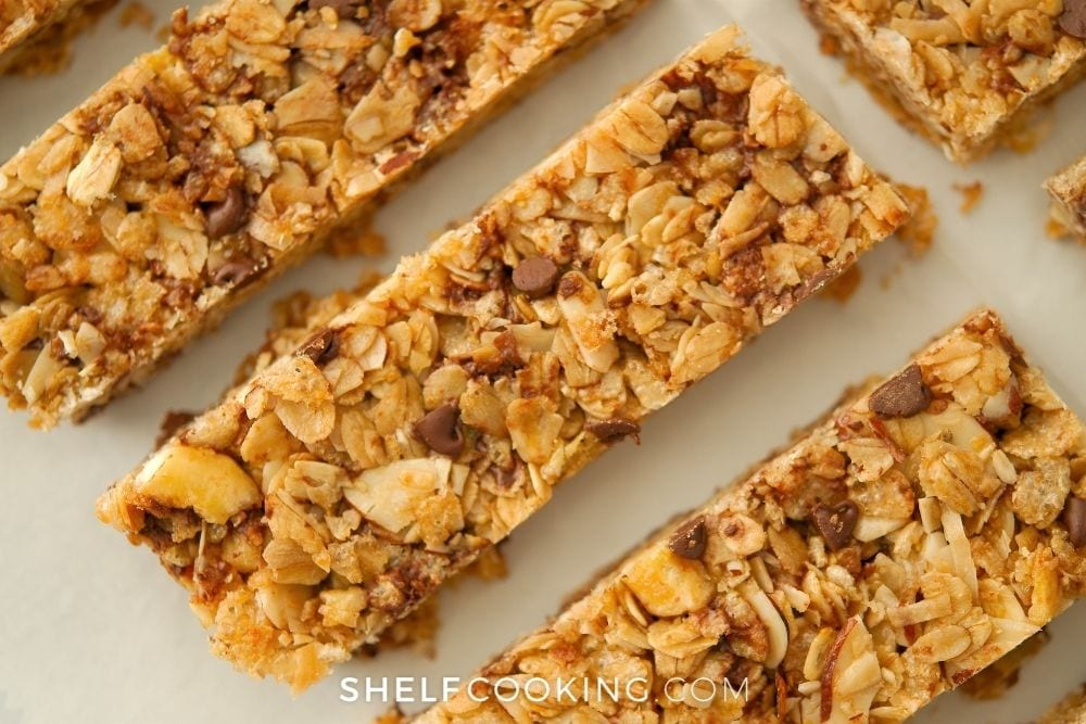 homemade granola bars with oats and chocolate, from Shelf Cooking