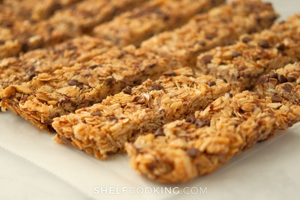 a closeup picture of homemade chewy granola bars, from Shelf Cooking
