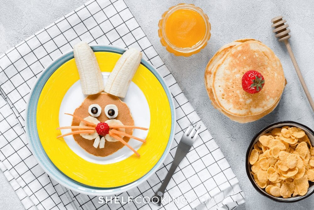 bunny pancakes for kids on Easter, from Shelf Cooking