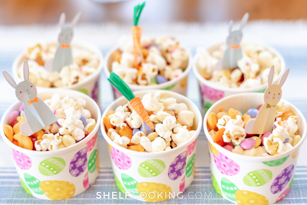 trail mix snack cups for Easter, from Shelf Cooking