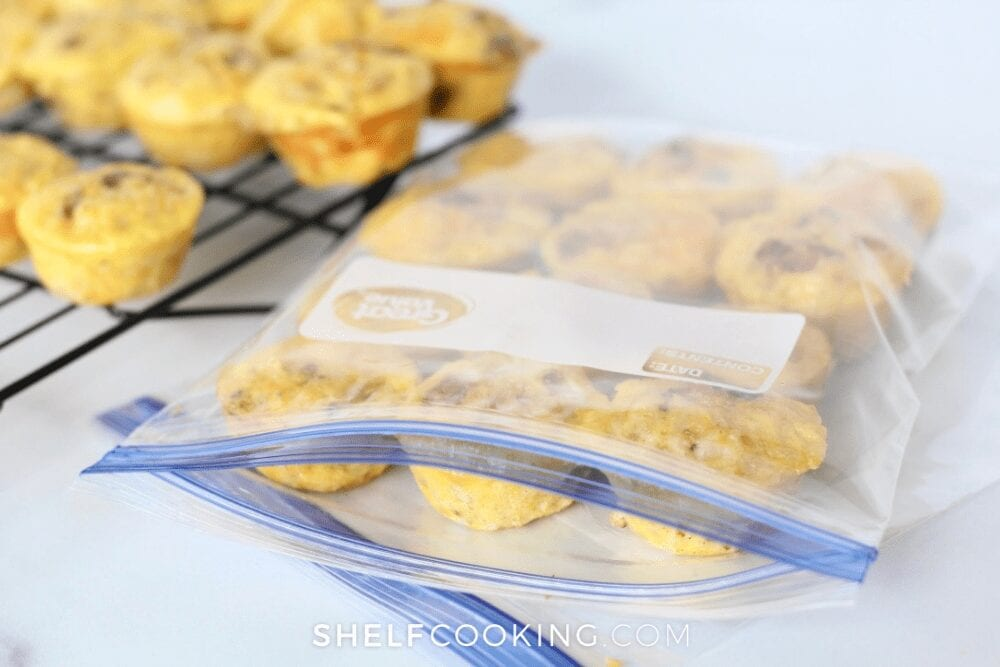 egg muffin cups for breakfast in freezer bag, from Shelf Cooking