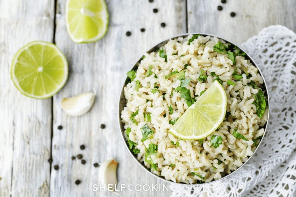 rice with cilantro and a lime on top, from Shelf Cooking