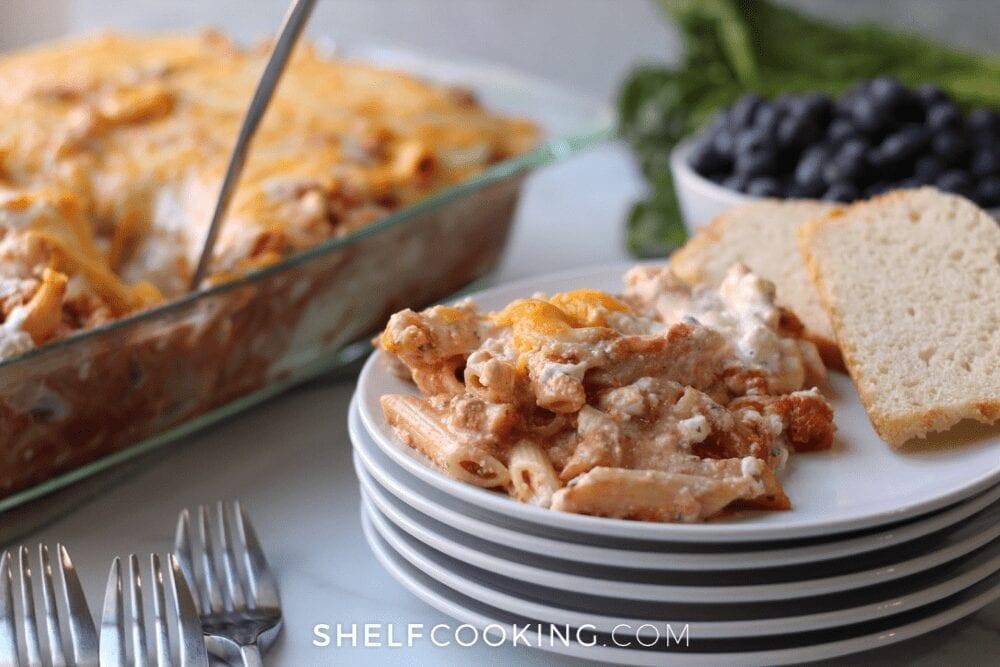 pasta bake freezer meal, from Shelf Cooking