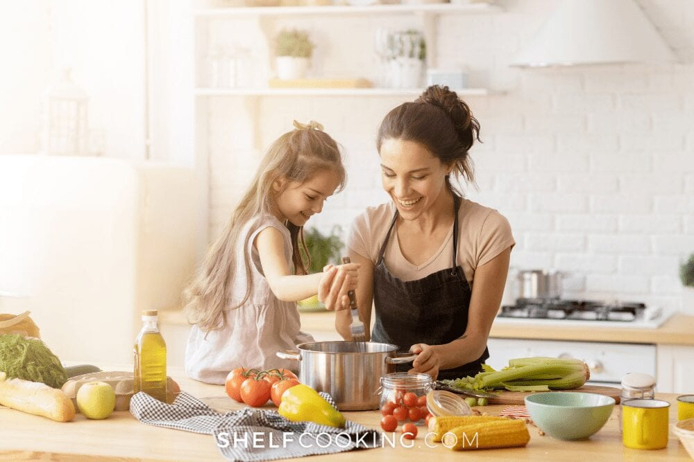 mom and daughter preparing healthy food, from Shelf Cooking