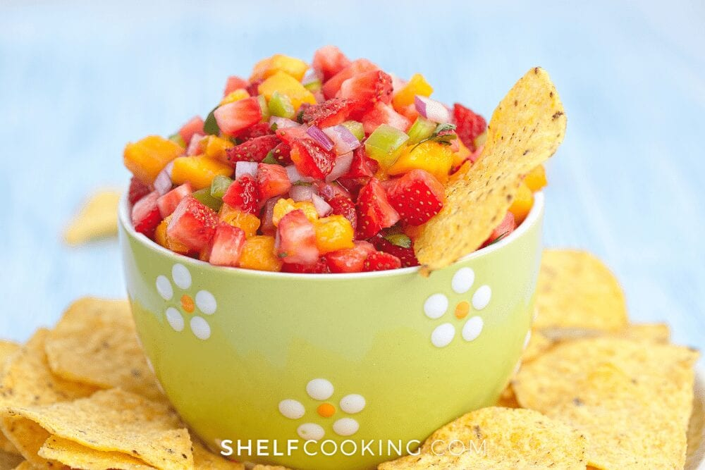 a bowl of fruit salsa, fro Shelf Cooking