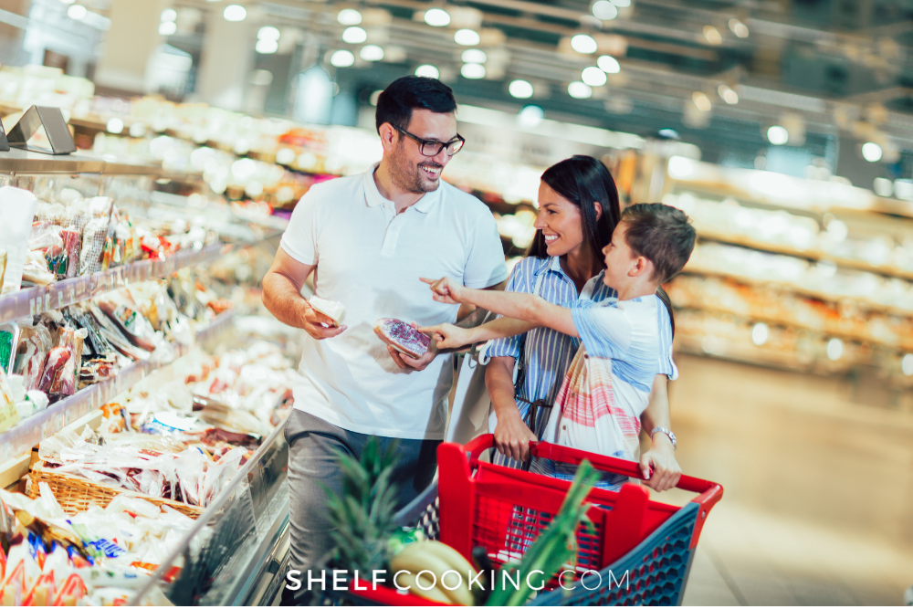 family shopping for groceries, from Shelf Cooking
