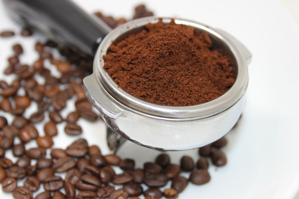 a spoonful of leftover coffee grounds, from Shelf Cooking