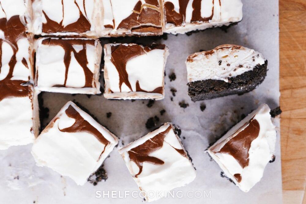 chocolate swirl cheesecake bite slices, from Shelf Cooking