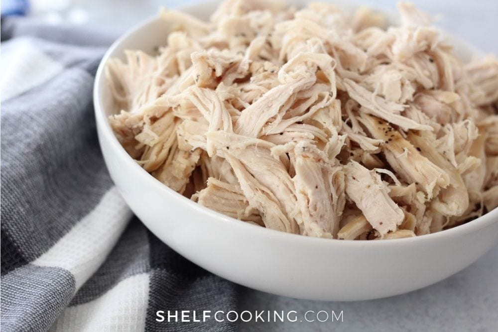 bowl of shredded chicken for soup, from Shelf Cooking