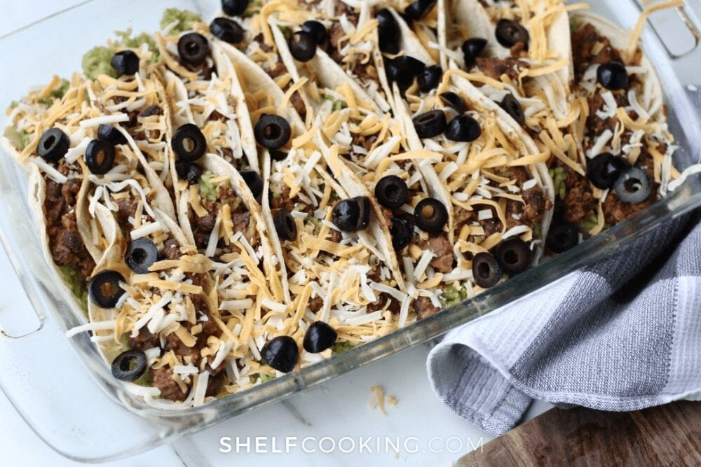 oven-baked ground beef tacos, from Shelf Cooking