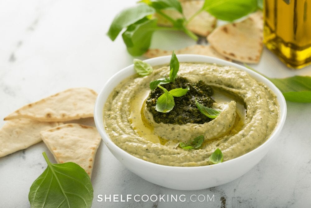 hummus made with pesto, from Shelf Cooking