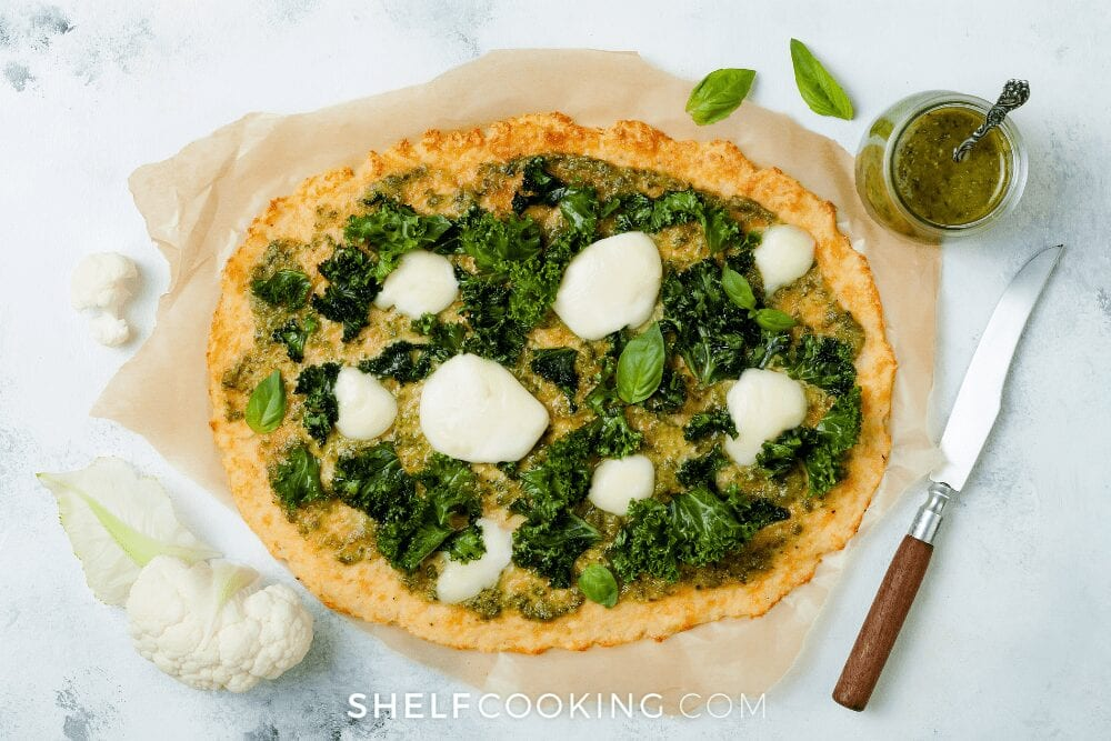 homemade pizza with pesto sauce, from Shelf Cooking