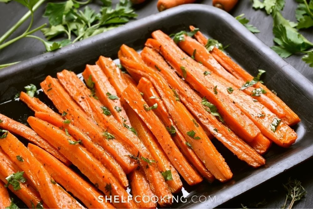 2-ingredient roasted carrots, from Shelf Cooking