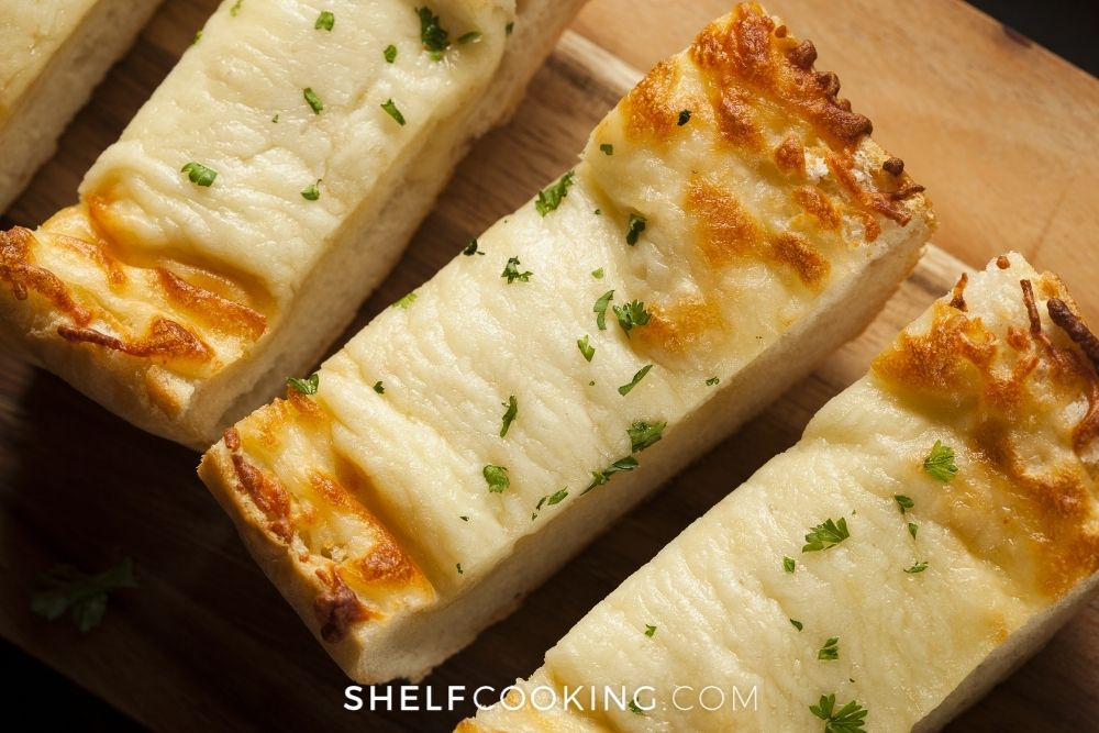 cheese garlic bread for baked ziti side, from Shelf Cooking
