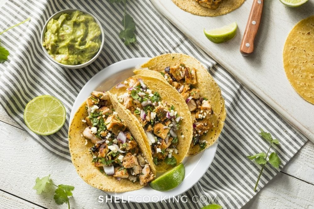 cilantro lime chicken served in tacos, from Shelf Cooking