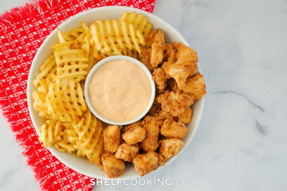 chicken nuggets with waffle fries, from Shelf Cooking