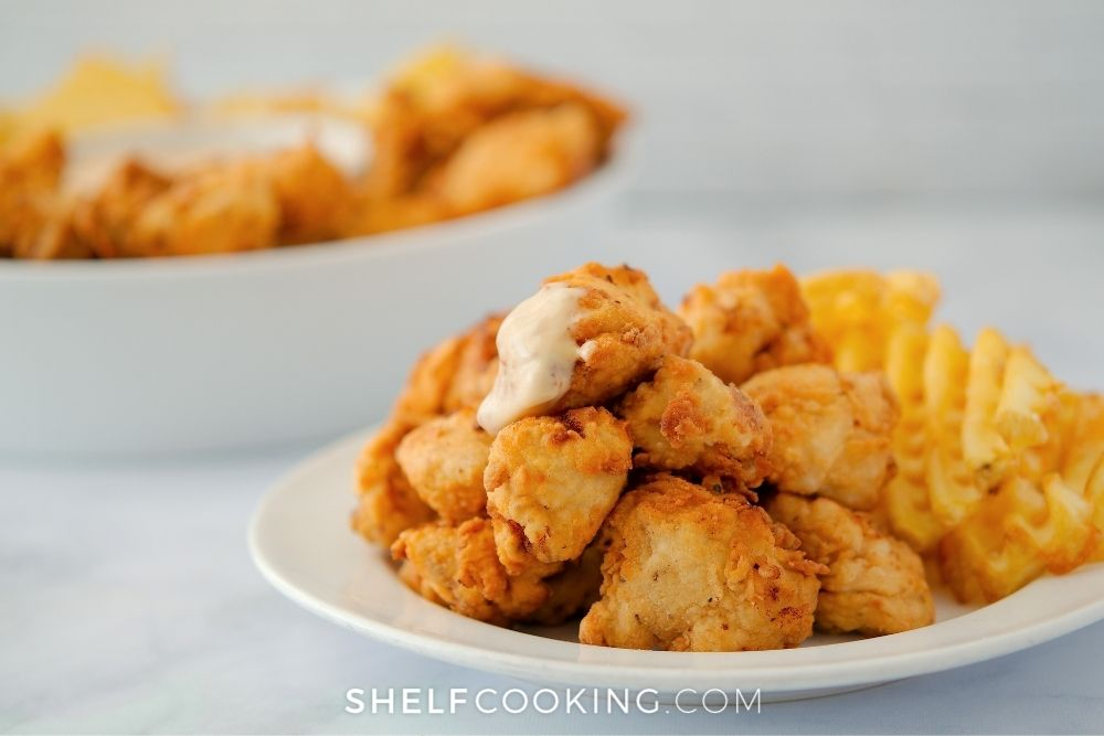 copycat chick-fil-a chicken nuggets on plate, from Shelf Cooking