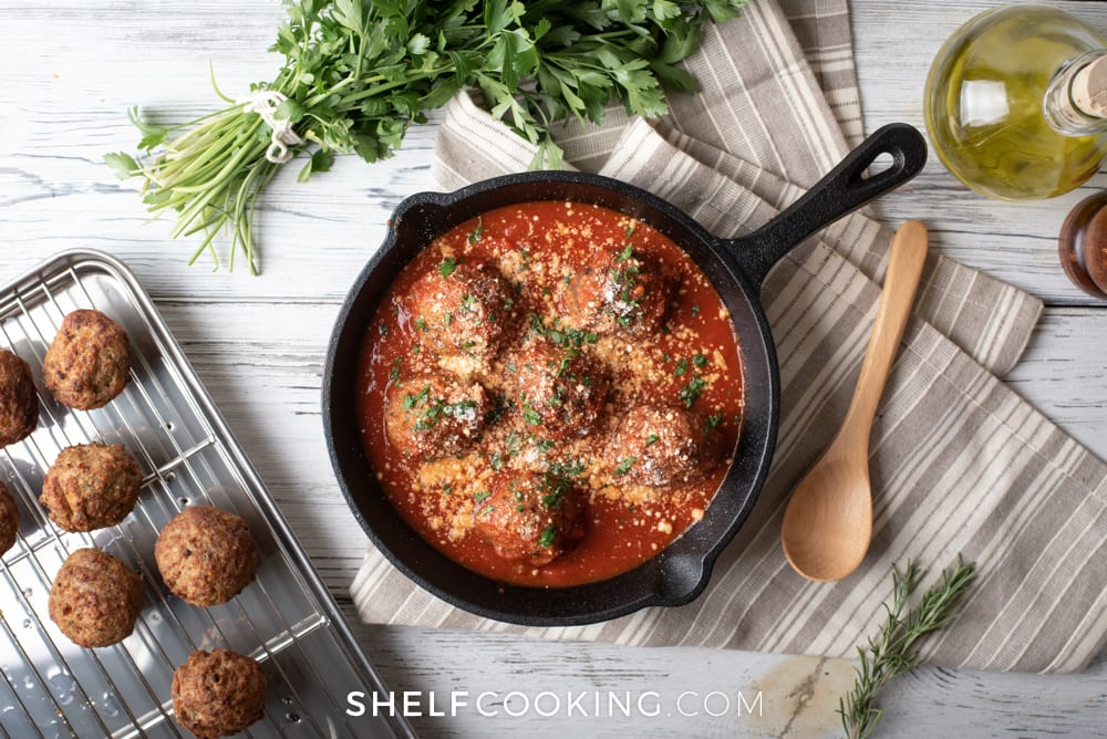 Meatballs in a cast iron skillet, from Shelf Cooking