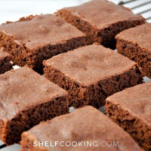sliced homemade fudge brownies, from Shelf Cooking